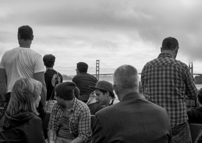 People and Golden Gate Bridge